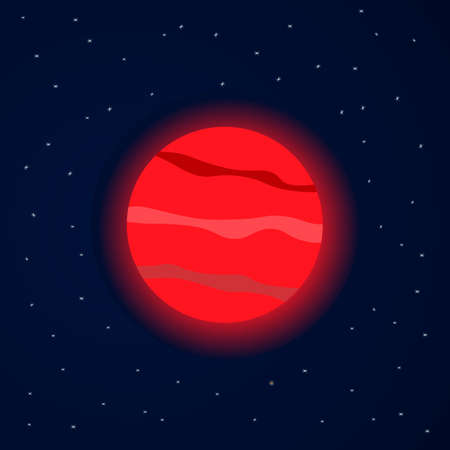 Red planet in starry space. Vector illustration