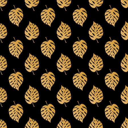 Tropic seamless pattern with golden leaves. Vector illustration