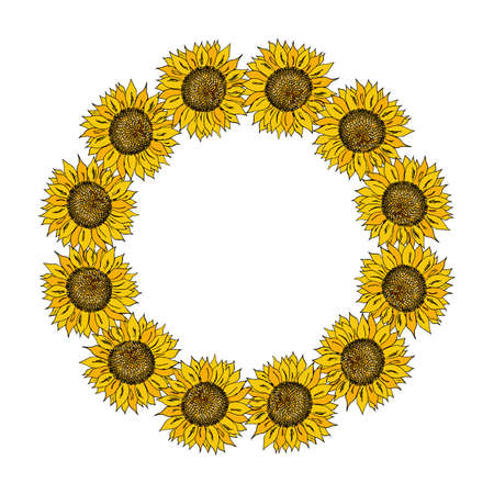 Vector floral wreath with sunflowers. Vector illustration.