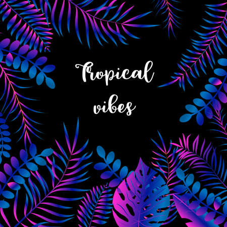 Summer night tropical design with palm leaves. Vector illustration Vectores