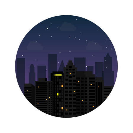 Silhouette of the city night with stars at the sky. Vector illustration