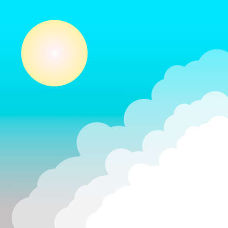 Sun and cloud in the sky. Vector illustration Vectores