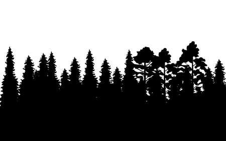 Vector illustration with black forest isolated on white background