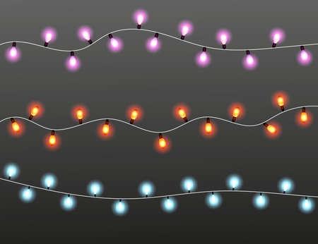 Strings of Christmas lights on dark background, vector illustration Vectores