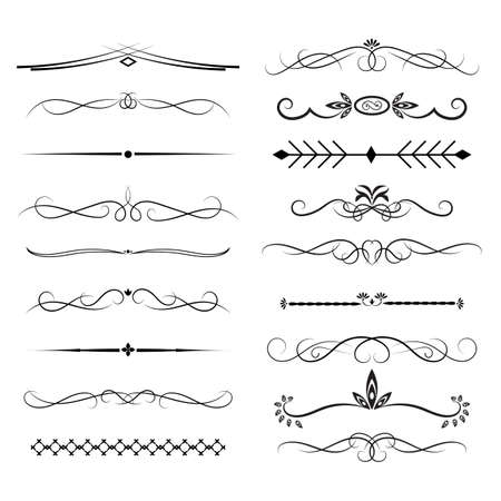 Set of vintage decorative ornament borders and page dividers. Vector illustration