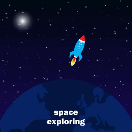 Spaceship launch to outer space, cosmos exploring concept. Vector flatstyle illustration. Vectores