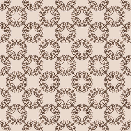 Abstract arabesque ornament on beige background. Seamless pattern, vector illustration