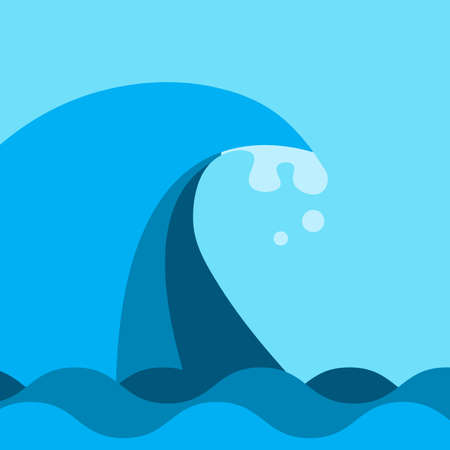 Bid ocean and sea wave in blue color. Flat style vector illustration