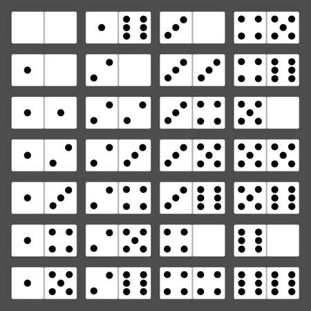 Domino bones full set 28 pieces for game. Vector illustration Vectores