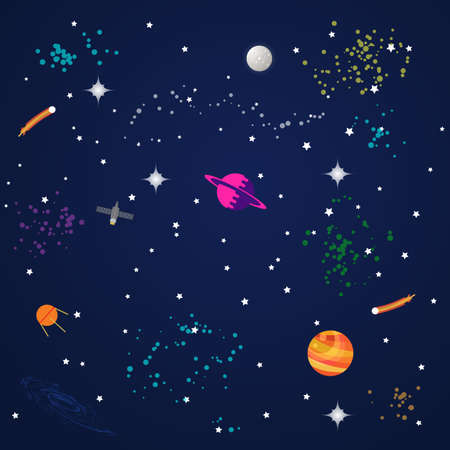 Abstract cosmos background with planets and stars. Vector illustration