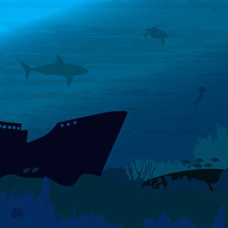 Ocean underwater world with shark fish Vectores