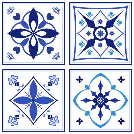 Azulejos portuguese traditional ornamental tile set.