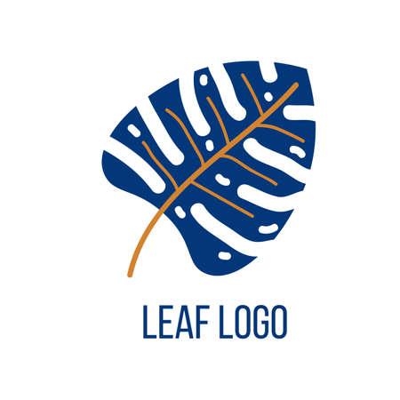 Nature logo design template, blue leaf symbol