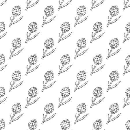 Seamless pattern with fresh artichoke