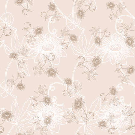 Seamless pattern with outline tropical Passiflora