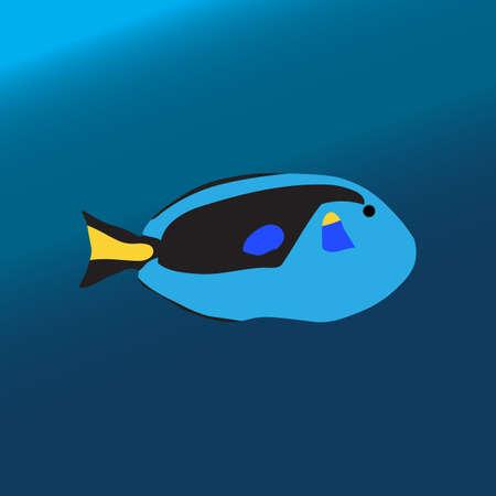 Tropical color sea fish Illusztráció