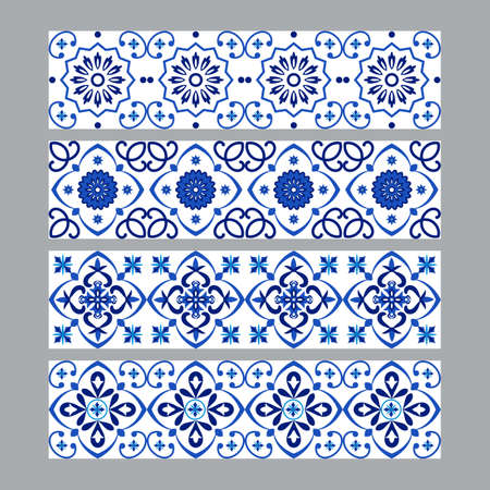 Set of azulejos portuguese traditional ornamental tile borders, blue and white pattern