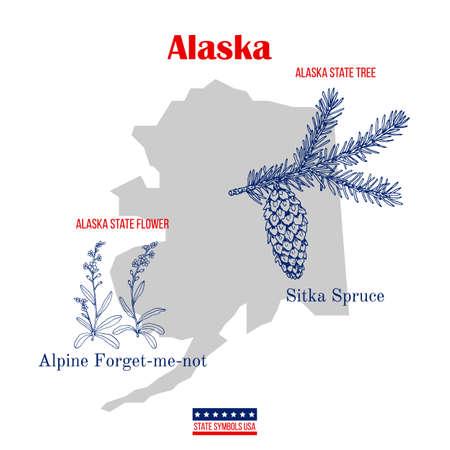 Alaska. Set of USA official state symbols Иллюстрация