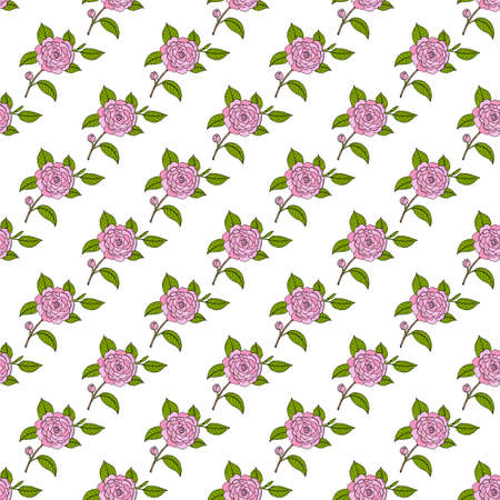 Seamless pattern with Japanese camellia ornamental plant