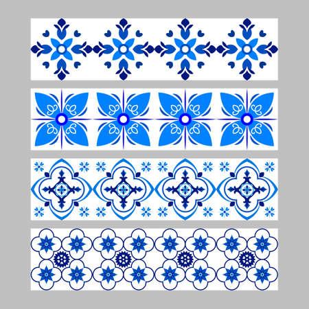 Set of azulejos portuguese traditional ornamental tile borders, blue and white pattern Çizim