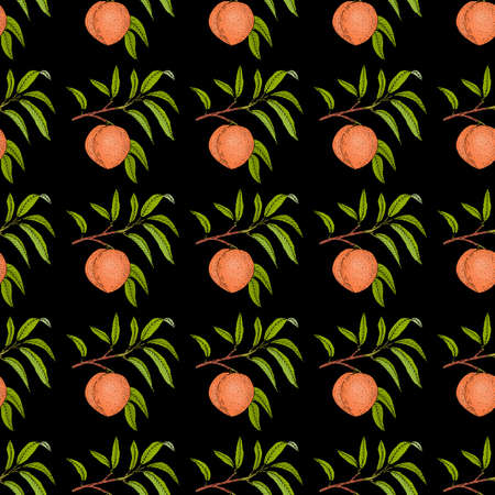 Peach branch with fruit and leaves seamless pattern