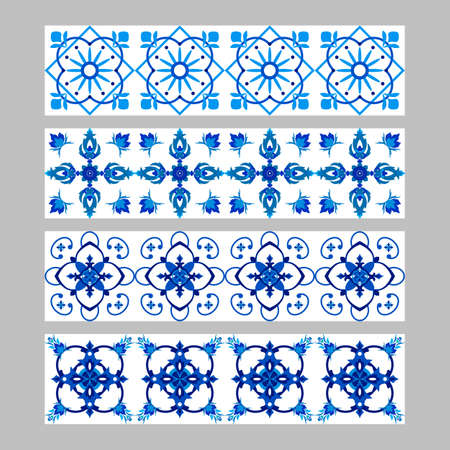 Set of azulejos portuguese traditional ornamental tile borders, blue and white pattern 向量圖像