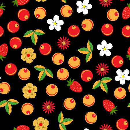 Khokhloma seamless pattern in russian tradition