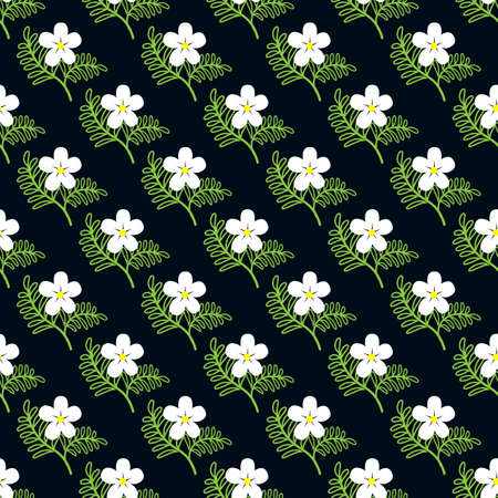 Seamless pattern with flowers and leaves on dark background 向量圖像