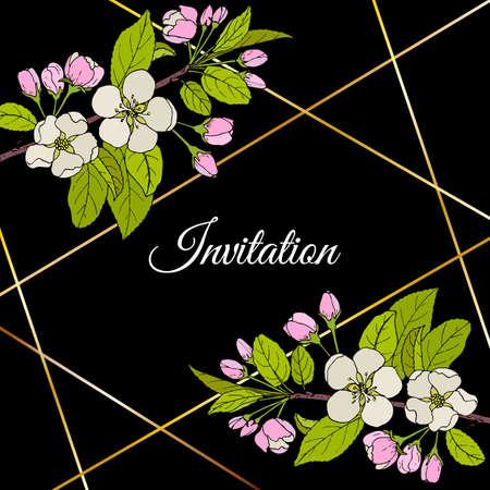 Beautiful invitation card with apple blossom