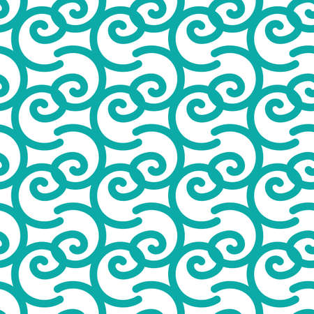 Seamless pattern with blue doodle curls