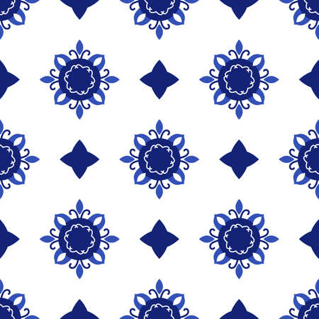 Portuguese pattern traditional ornamental tile in blue and white seamless pattern Иллюстрация