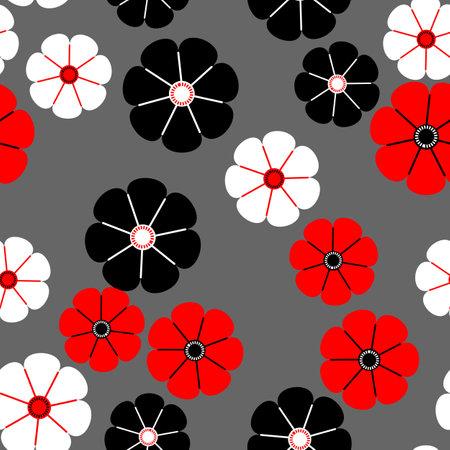 Seamless pattern of flowers on grey Иллюстрация