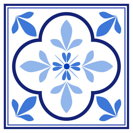 Azulejos portuguese traditional ornamental tile, blue and white pattern