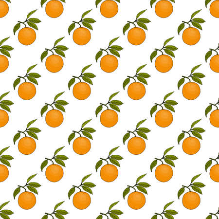 Seamless pattern with orange fruits and leaves