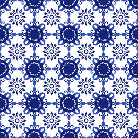 Azulejos portuguese traditional ornamental tile, blue and white seamless pattern 向量圖像