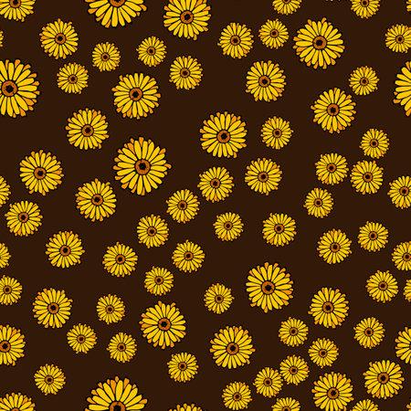 Seamless pattern with calendula flowers
