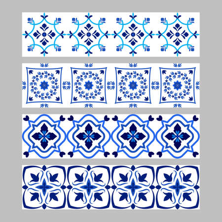 Set of azulejos portuguese traditional ornamental tile borders