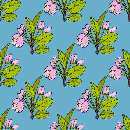 Seamless pattern with apple flowers and leaves