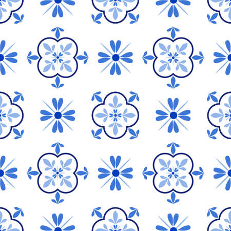 Azulejos portuguese traditional ornamental tile, blue and white seamless pattern Иллюстрация