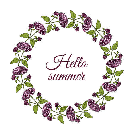 Floral frame with summer flowers and leaves Иллюстрация