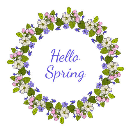 Greeting card template with round frame wreath of blue violet and apple flowers Иллюстрация