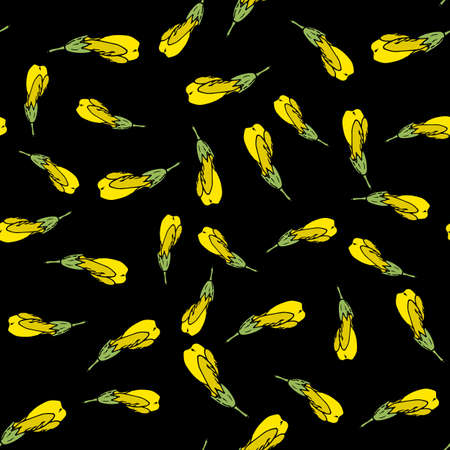 Seamless pattern with yellow flowers on black background Иллюстрация