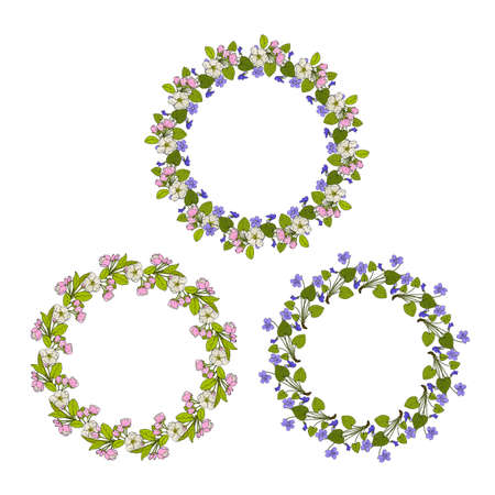 Set of round frame wreaths with blue violet and apple flowers