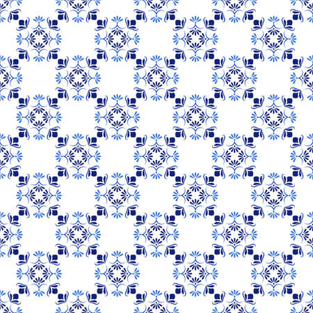 Azulejos portuguese traditional ornamental tile, blue and white seamless pattern Illustration
