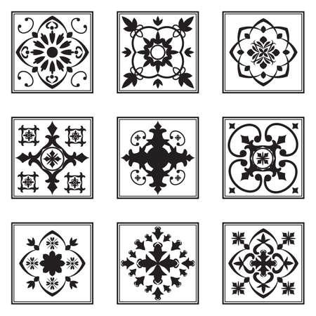 Set of ornamental tiles, black and white pattern