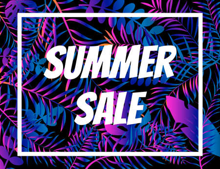 Summer sale poster, night tropic background with palm leaves