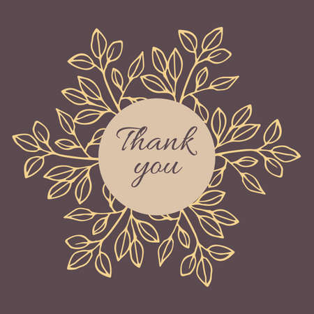 Thank you phrase with hand drawn plant elements