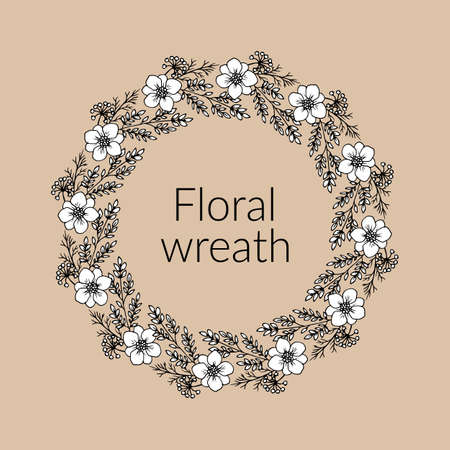 Greeting card template with round frame wreath of leaves and flowers Standard-Bild - 164135782