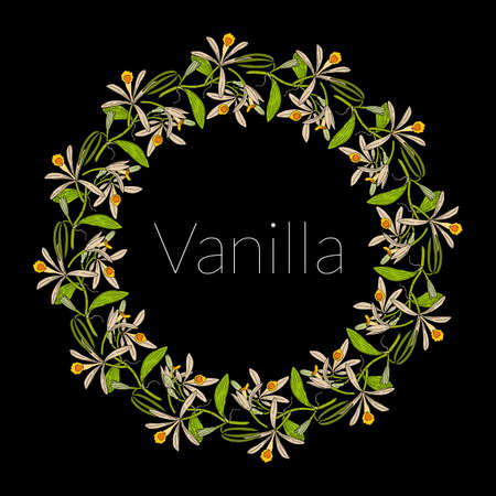 Greeting card template with round frame wreath of vanilla leaves and flowers