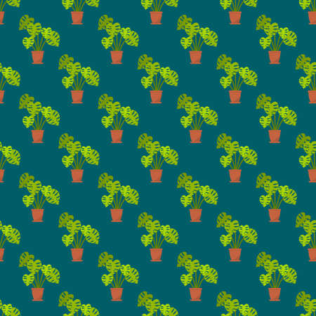 Seamless pattern with monstera interior plant in the pot Illustration